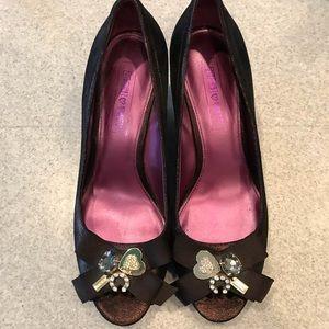 Coach Poppy Jaden peep toe wedge with charms